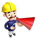 The construction site man in to promote sold as a loudspeaker work and job character design series Royalty Free Stock Photos