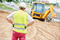 Construction site manager worker portrait Royalty Free Stock Photo