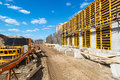 Construction site in moscow on april russia urban is at a faster pace russia Royalty Free Stock Image