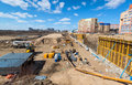 Construction site in moscow on april russia urban is at a faster pace russia Stock Photos