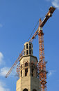Construction site of mosque with tower crane Stock Photos