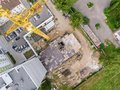 Construction site in progress. top aerial view of building under Royalty Free Stock Photo