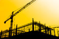 Construction Site silhouettes Royalty Free Stock Photo