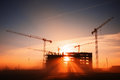 Construction site tower cranes at Royalty Free Stock Image