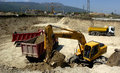 Construction site with tractors and dump truck in sofia bulgaria may Royalty Free Stock Images