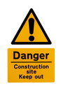 Construction Site Warning Sign Royalty Free Stock Photo