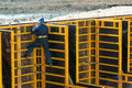 Construction site worker on the formwork april in moscow russia urban is at a faster pace in russia Stock Image
