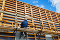 Construction site worker on formwork the april in moscow russia urban is at a faster pace in russia Stock Image