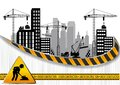 Construction sites with buildings and cranes Royalty Free Stock Photo