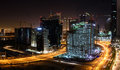 Construction sites in Dubai at night Royalty Free Stock Photo