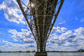 Construction of the steel bridge in plock poland Royalty Free Stock Photos