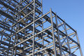 Construction steel framework against blue sky Royalty Free Stock Photo