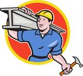 Construction steel worker carry i beam circle cartoon illustration of carpenter carrying girder on shoulder set inside on isolated Stock Photos