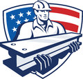 Construction Steel Worker I-Beam American Flag Royalty Free Stock Photo
