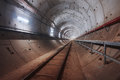 Construction of subway tunnel with white light Royalty Free Stock Photo