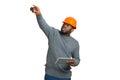 Construction supervisor on white background. Royalty Free Stock Photo
