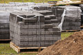 Construction tile the put new necessary for work with foot paths Stock Image