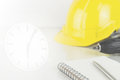 Construction time limitation concept with tools Royalty Free Stock Photo