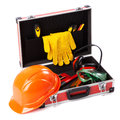 Construction toolkit on white background Stock Photography