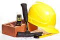 Construction tools and blueprint Stock Photography