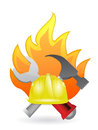 Construction tools on fire illustration design over a white background Stock Photos
