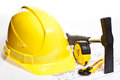 Construction tools, hardhat and blueprint Stock Image
