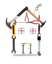 Construction tools house shape made from isolated on white background Stock Images