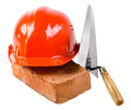 Construction tools photo beauty red safety cap and brick with plane close up on white background isolated Stock Photo