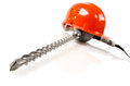 Construction tools photo red safety cap and perforator with stone drill close up on white background isolated Royalty Free Stock Images
