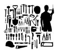 Construction Tools Silhouette, art vector design