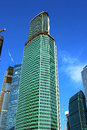 Construction of the tower eurasia of business center moscow city on december in Royalty Free Stock Photos
