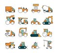 Construction transport. Heavy machinery truck asphalt highway on machines for builders lifting crane bulldozer tractors Royalty Free Stock Photo