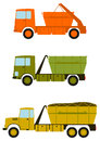 Construction truck set a of trucks with containers for debris on the white background Stock Image
