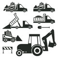 Construction trucks and tractor icons or signs set