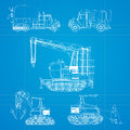 Construction vehicles blueprint Stock Photos