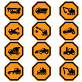Construction vehicles icon set Royalty Free Stock Photo