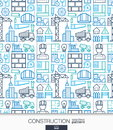 Construction wallpaper. Build connected seamless pattern. Tiling textures with thin line integrated web icons set