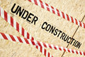 Construction warning on wood panels Royalty Free Stock Photo