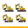Construction wheeled tracked flat isometric vehicles style modern site transport web app icon set concept bulldozer motor grader Royalty Free Stock Photos