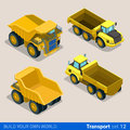 Construction wheeled: vector flat isometric vehicles Royalty Free Stock Photo