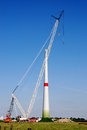 Construction windturbine of a new in the north of belgium Stock Photography