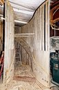 Construction of a Wooden Spiral Staircase Royalty Free Stock Photo
