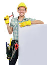 Construction worker with blank space Stock Photo