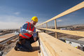 Construction worker at bridge site Royalty Free Stock Image