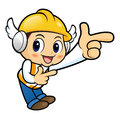 Construction worker character is guides gesture Royalty Free Stock Photo