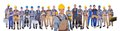 Construction worker with colleagues over white background Royalty Free Stock Photo