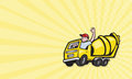 Construction worker driver cement mixer truck business card template showing illustration of a driving a done in cartoon style Royalty Free Stock Image