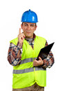 Construction worker with the finger up Stock Photos