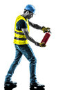 Construction worker fire extinguisher silhouette one with isolated in white background Royalty Free Stock Photography
