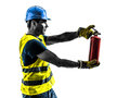 Construction worker fire extinguisher silhouette Royalty Free Stock Photo